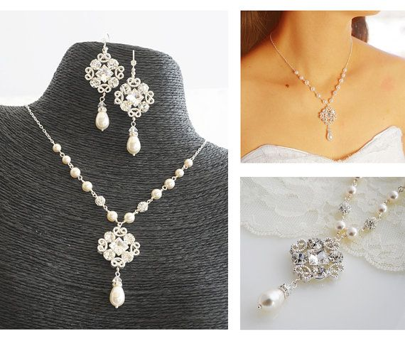 WHALEY, Bridal Necklace, Wedding Jewelry SET, Wedding Earrings, Victorian Style Necklace, Ivory or White Swarovski Pearl and Crystal Jewelry