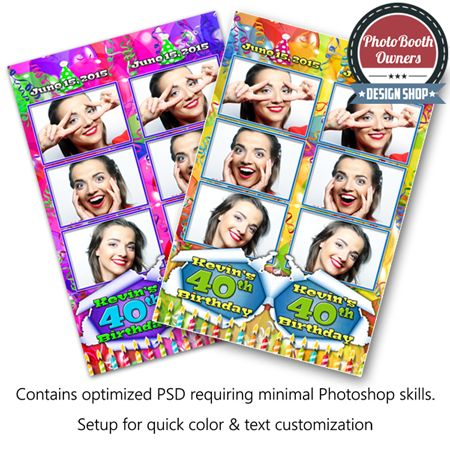 A photo booth template designed using colorful birthday balloons and streamers in the background with candles floating in the foreground. Each photo is framed with a thin border and a soft drop shadow gives each photo a feeling of dimension. This design is perfect for any gender birthday party. The photo strips feature 3 photos in a 3-up arrangement.