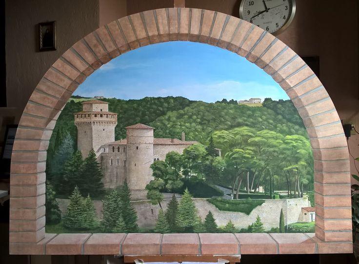 Arco trompe l'oeil dipinto con tempere acriliche su legno