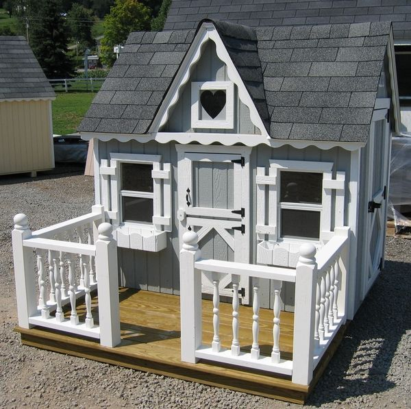 Little Cottage Co Playhouse Deck And Railing 4 X 6 In 2020 Wooden Outdoor Playhouse Play Houses Build A Playhouse