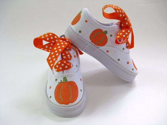 i love these! they are so cute!!! @Wesley Archambault Piper Wang, we gotta get addi some of these! Girls Pumpkin Shoes Baby and Toddler Hand  by boygirlboygirldesign, $30.00