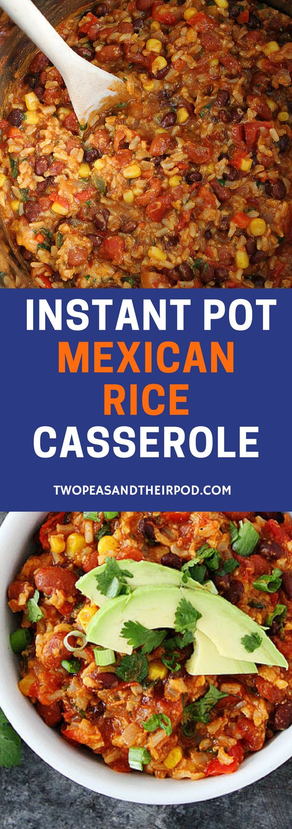 Instant Pot Mexican Rice Casserole is a weeknight dinner favorite! You will love this cheesy black bean and rice casserole! It is easy to make and freezes well too! #dinner #easyrecipes #vegetarian #glutenfree #InstantPot #casserole