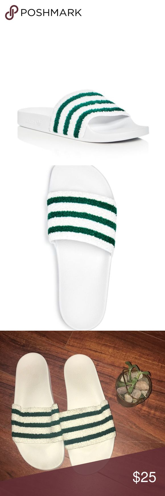 """Adidas Men's Adilette Slide Sandals Size 11 GUC Adidas Adilette Slides, Men's size 11. Great condition aside from slight wearing at the """"top"""" side of the band.  Fits true to size, order your normal size Contoured footbed for comfort Slip on Stripe detailing at strap Quick dry lining Logo at side Synthetic fabric upper, synthetic fabric lining, rubber sole Imported adidas Shoes Sandals & Flip-Flops"""
