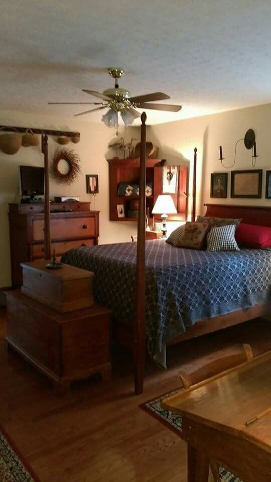 25 best ideas about primitive bedroom on pinterest for Cozy country bedroom ideas