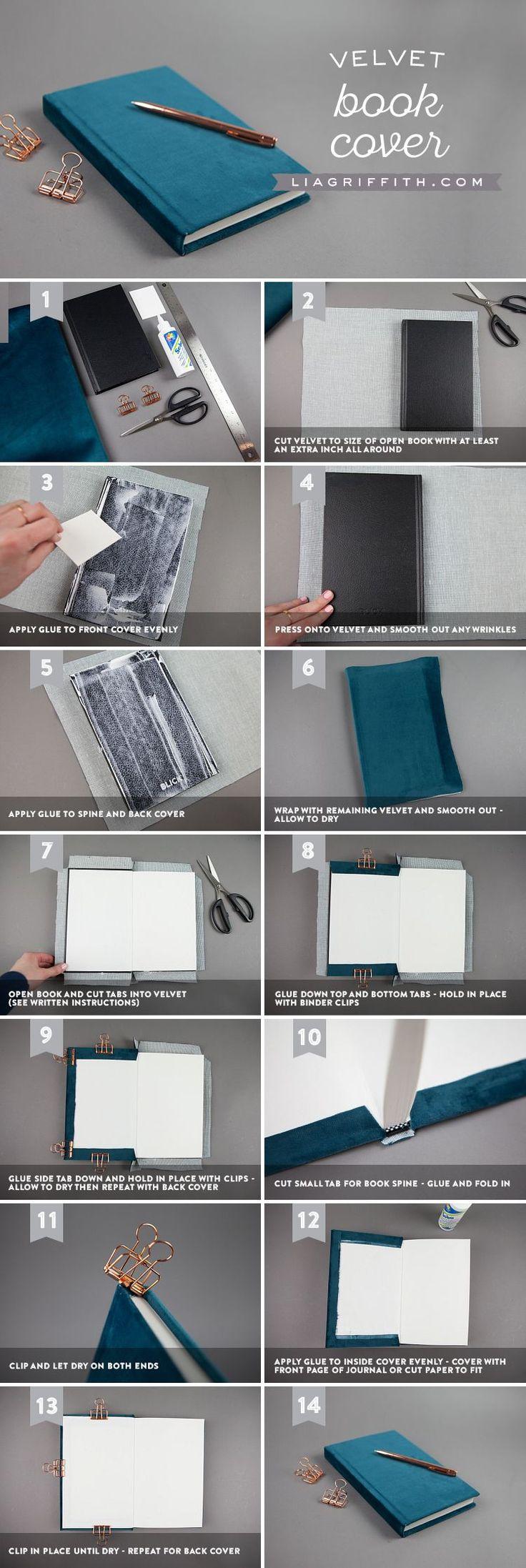 Como forrar un libro de notas o agenda con fieltro o tela