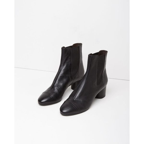 Isabel Marant Danae Leather Boot ($865) ❤ liked on Polyvore featuring shoes, boots, black, leather boots, leather sole boots, black boots, cap toe boots and leather sole shoes
