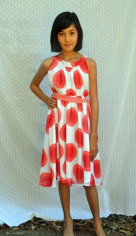 Gertrude dress, Grand Dots, Cherry, idyllic  5th grade graduation dress