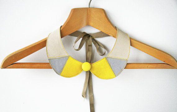 Lemon Yellow and Gray Leather Collar Bib Necklace Peter Pan Detachable Collar - Leather Bib Necklace. $42.00, via Etsy.