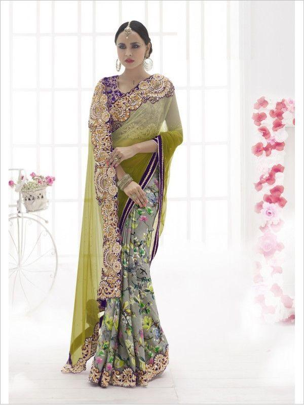 Green Party Wear Georgette/Net/Satin Saree