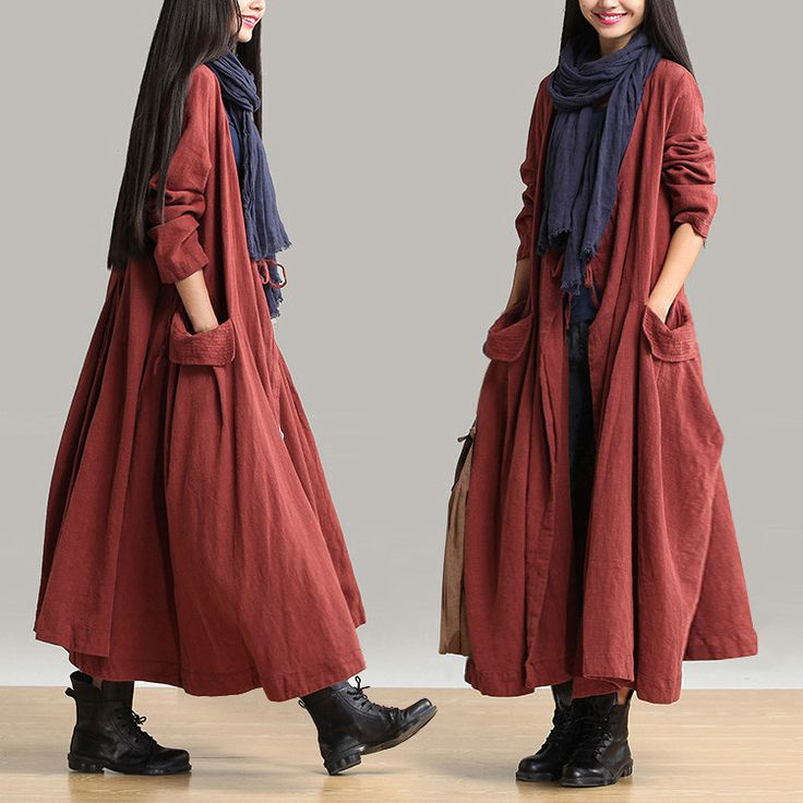 Women cotton linen loose fitting winter long coat - Tkdress  - 1
