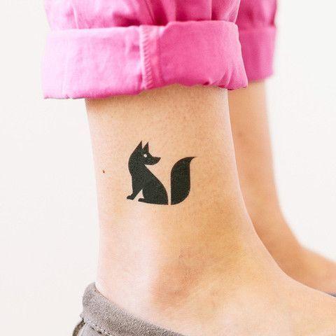 Black Fox Leg Tattoo