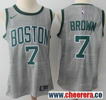brand new 28228 813c3 Nike Boston Celtics #7 Jaylen Brown Gray NBA Swingman City ...