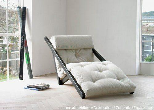 Futon Lounge Sessel weiß-natur, Gestell 4-fach positionierbar, Maße (Gestell): B/H/L ca. 70 / 7-80/ 200 cm, Maße (Matratze) B/H/T ca. 70/12/200 cm