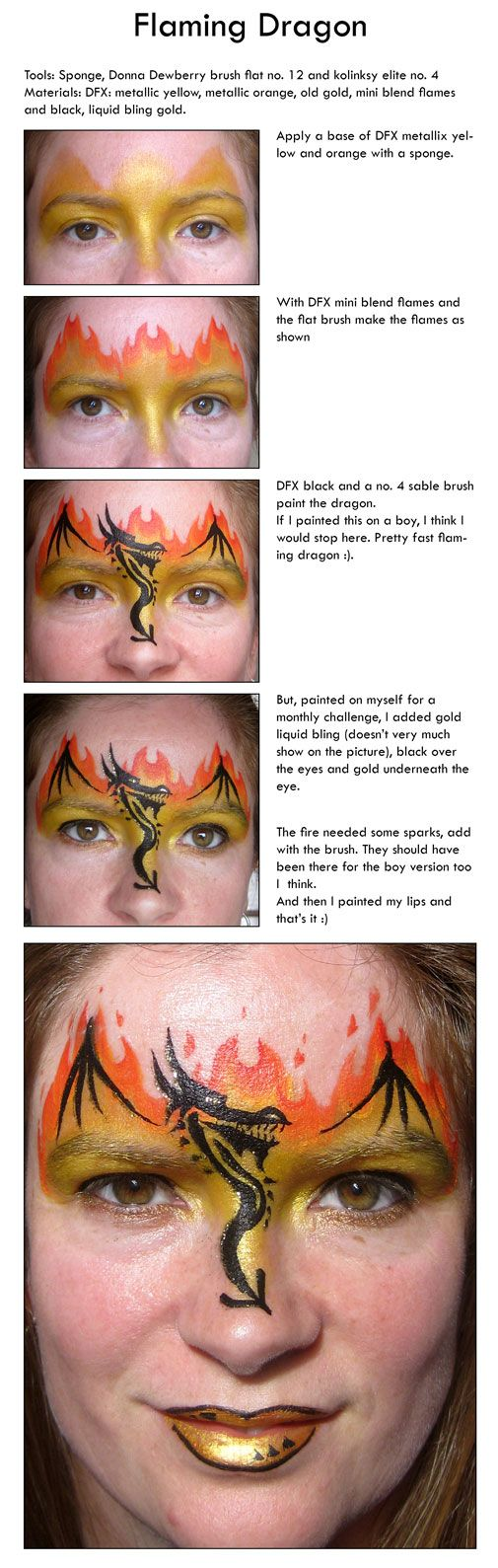 flaming dragon face paint how to