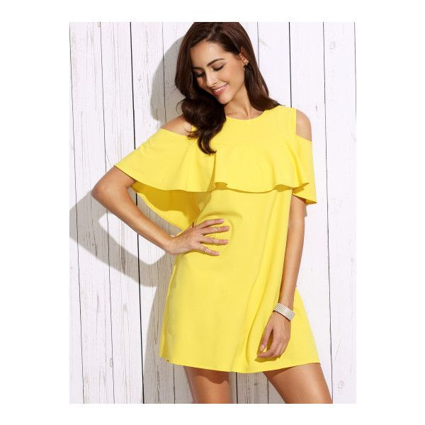 SheIn(sheinside) Yellow Cold Shoulder Ruffle Shift Dress ($18) ❤ liked on Polyvore featuring dresses, yellow, long-sleeve shift dresses, ruffle sleeve dress, short sleeve shift dress, short cocktail dresses and short-sleeve shift dresses
