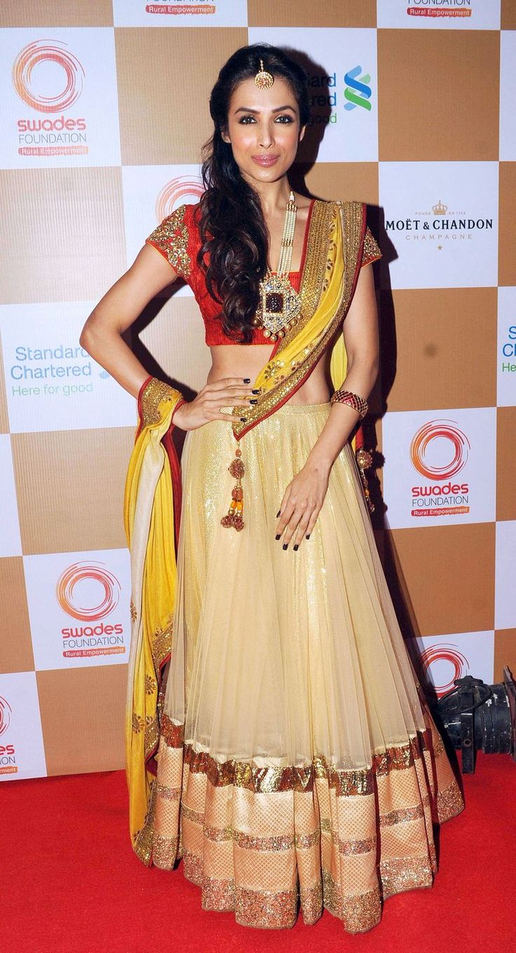 Malaika Arora Khan showed off her trim waist in this ghaghra choli at a fund raising event hosted by Swades Foundation.