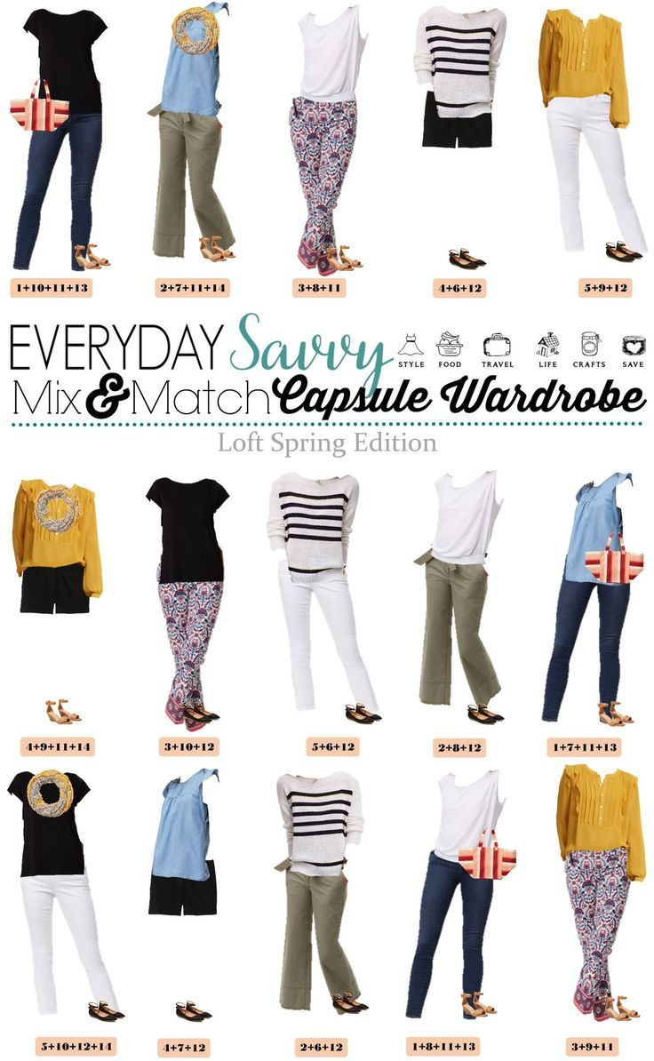 Fun new spring Loft capsule wardrobe with great mix and match outfits. This capsule includes a mustard top, chambray and fun stripes and floral.  via @everydaysavvy