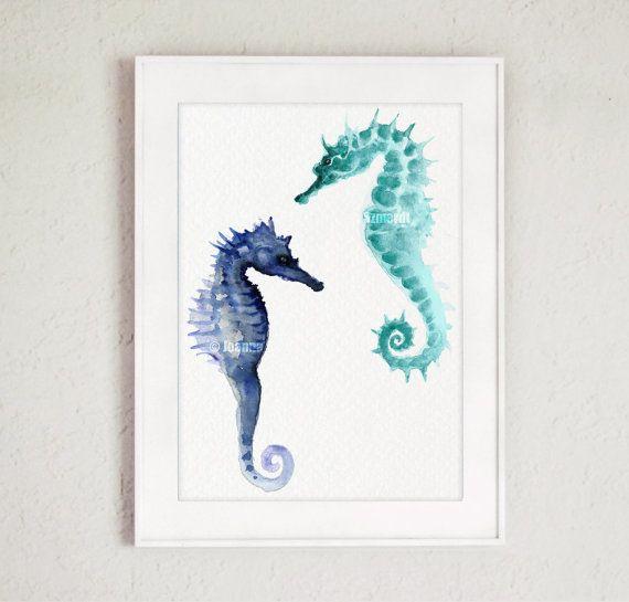 Los caballitos de mar fina giclee impresión del por ColorWatercolor