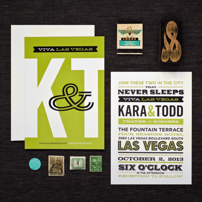 Viva Las Vegas Wedding Invitations By Hi, Friend. Styling By Yours Truly!