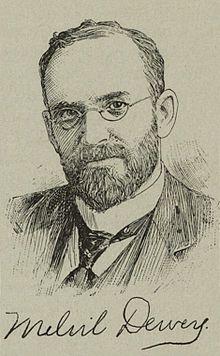 """Melvil Dewey (1851-1931 USA)  Il était bibliothécaire à l'université """"Amherst College"""" et est connu pour avoir écrit un système de classement des livres qui porte son nom : la classification décimale de Dewey  Mots-clé : langage classificatoire / langage documentaire / architecture de l'information /"""
