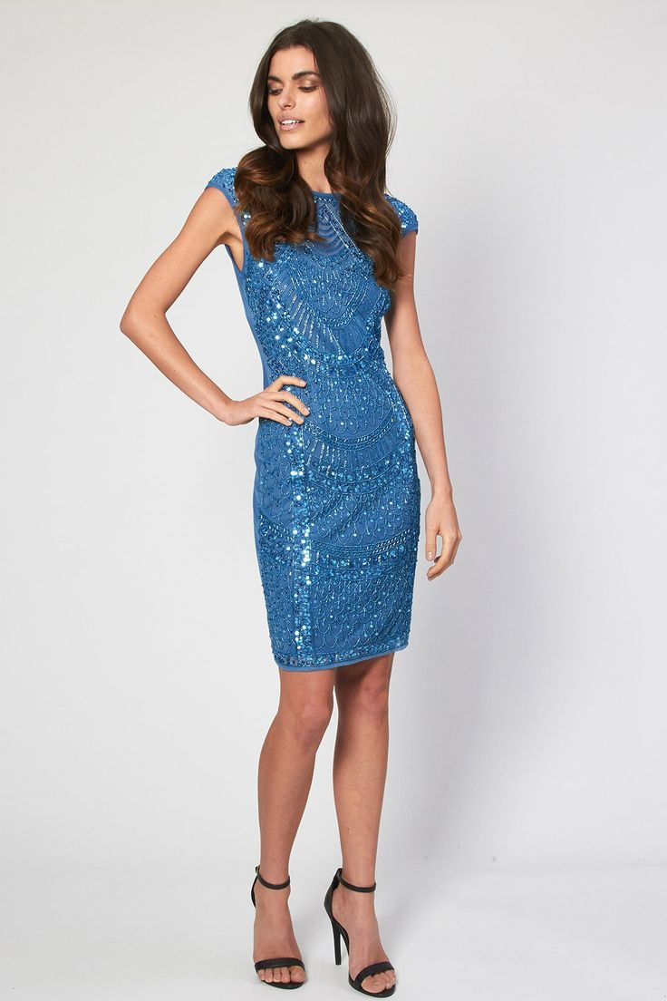 Lace & Beads Evening Dress <br /> <br /> - Embellished all over Detail <br /> - Sleeveless <br /> - Shift style<br /> - Zip on reverse<br /> <br /> Material: Outer fabric: 100% Polyester, Lining: 100% Polyester<br /> <br /> Care: Hand Wash Only