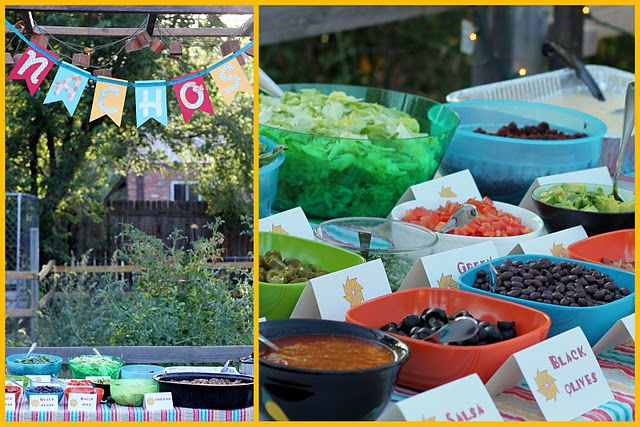16 party food stations-- This one is the nacho bar. Also:  1. Cookie Bar  2. Mashed Potato Bar  3. S'mores bar  4. Root beer float/Sundae bar  5. Hot chocolate bar  6. Cupcake bar  7. All white candy bar  8. Colorful Candy bar  9. Oatmeal bar  10. Cereal bar  11. Trail Mix  12. Pasta bar  13. Pizza bar  14. Yogurt bar  15. Baked potato bar