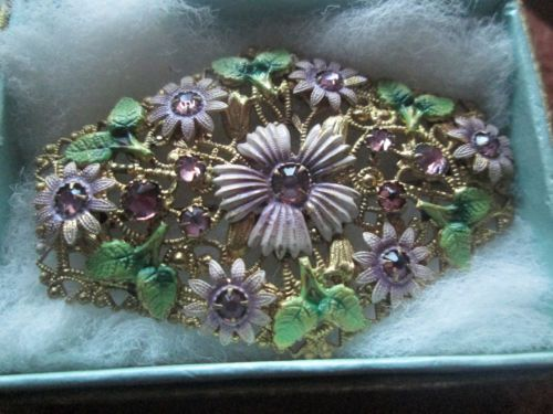 RARE-BEAUTIFUL-DECO-BROOCH-NEIGER-SUFFRAGETTE-COLOURS-FAB