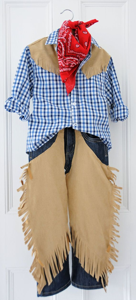 Cowboy Costume / Outfit Jeans with Chaps Shirt & by AtelierSpatz