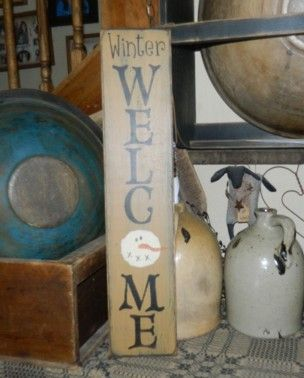 WINTER WELCOME SNOWMEN PRIMITIVE SIGN SIGNS