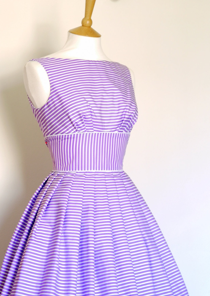 Lilac and White Striped Cotton Prom Dress - Made by Dig For Victory. £102.00, via Etsy.Cotton Prom, Spring Summe 2014 15, Stripes Cotton, Prom Dresses, White Stripes