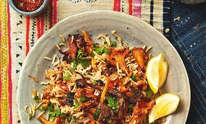 The weekend cook: Thomasina Miers' recipes for wild mushroom pilaf and pomegranate granita with salted sesame snaps | Life and style | The Guardian