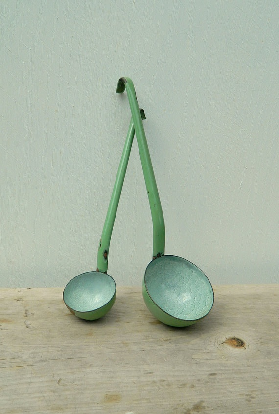 French Enamelware Ladle Dipper  Green by cabinwindows on Etsy
