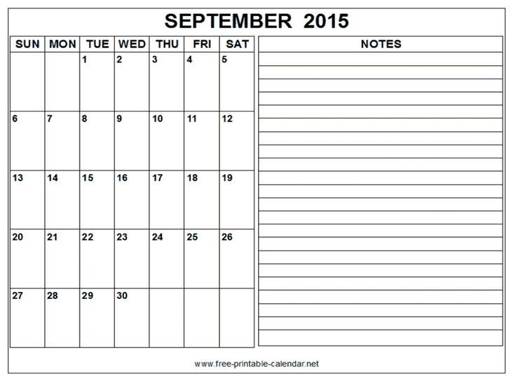11 Best Free Printable Calendar September 2015 Images On Pinterest