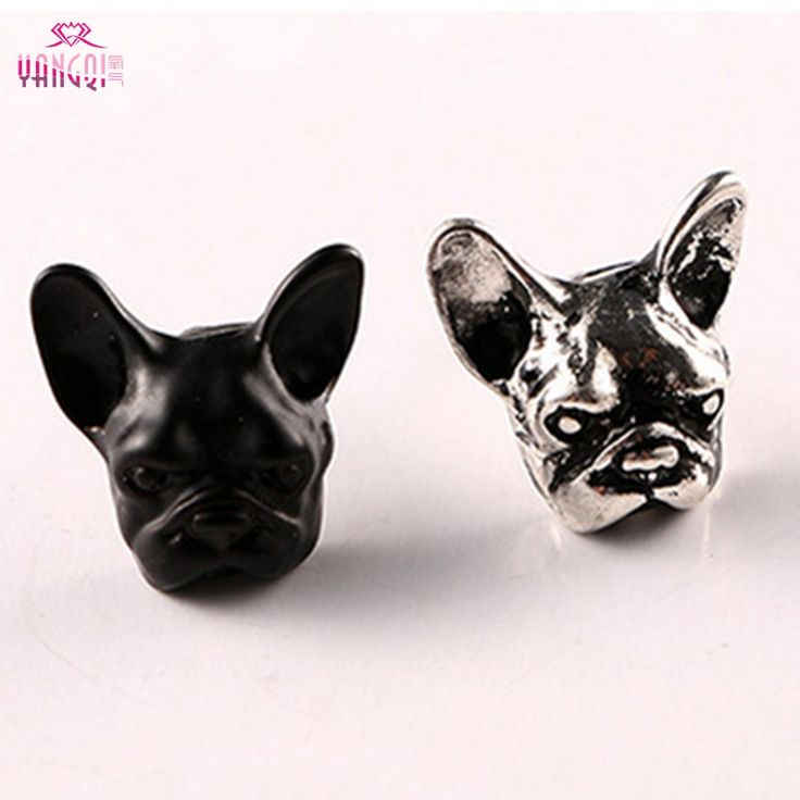 Punk Antique Silver Plated Earrings Animal Unisex Dog Stud Earrings Black Bulldog Earrings 2016 Hot Sale Jewelry