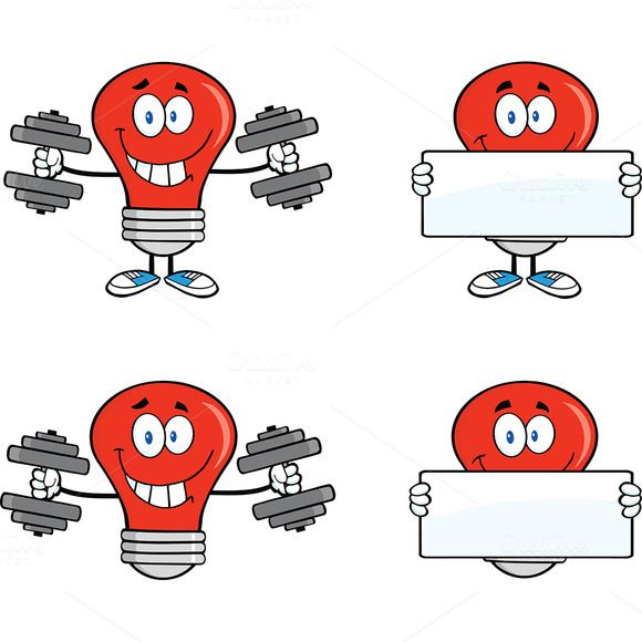 Red Light Bulb Collection - 1 by HitToon on @creativemarket