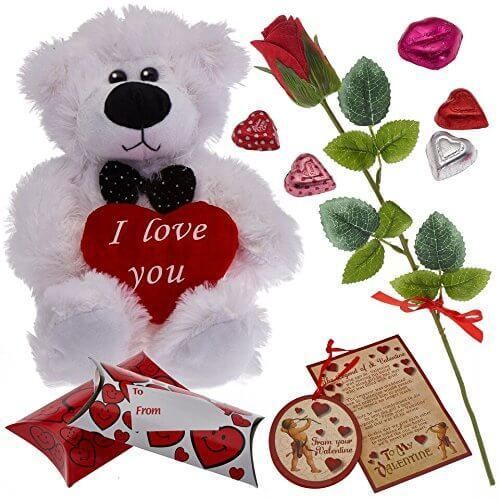 Valentines Day Gift Set With Velvet Rose Bear Heart Chocolates Romantic New #1