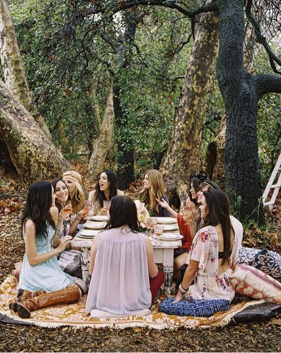 How to Throw the Bridal Shower Of Your Dreams - Wedding Party. Boho Style Bridal Shower with picnic, how awesome is this???