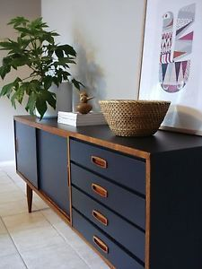 1970's Sideboard/buffet. Teak & Indigo Charcoal. Retro mid century modern Danish movement