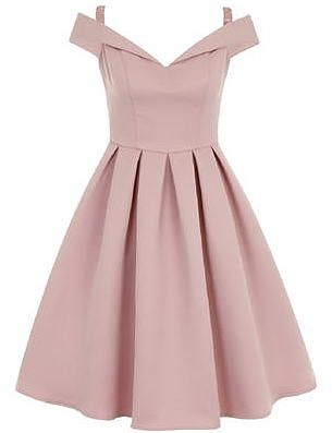 Womens dusty pink chi chi london bardot midi dress from Dorothy Perkins - £67.99 at ClothingByColour.com