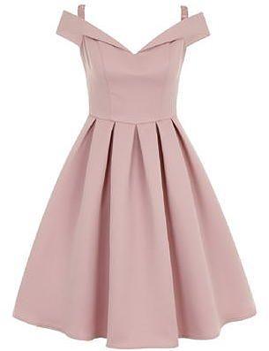 Womens dusty pink chi chi london bardot midi dress from Dorothy Perkins - £67.99 at ClothingByColour.com
