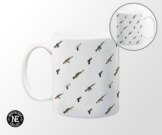 Counter Strike Gun Patterned Coffee Mug  11 oz by NostalgiaCollect