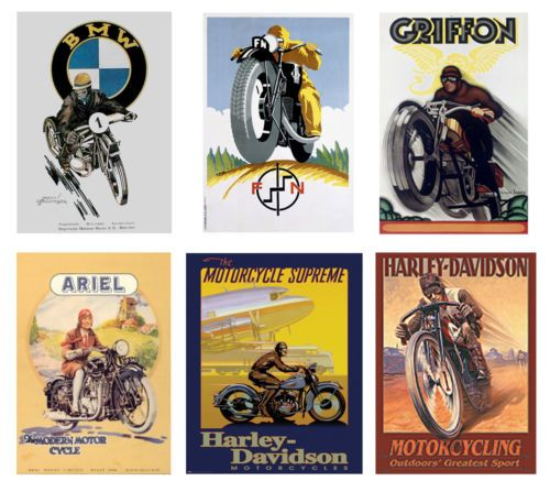 125 122 G Scale Model Vintage Motorcycle Posters