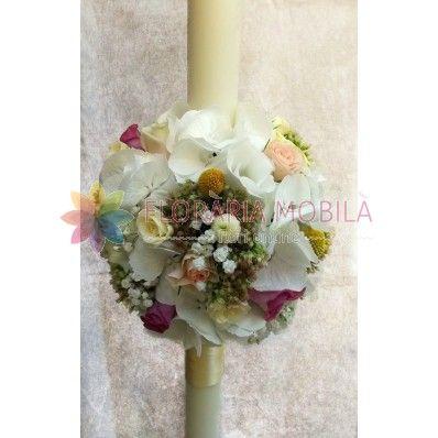 lumanari de nunta din hortensie si trandafiri