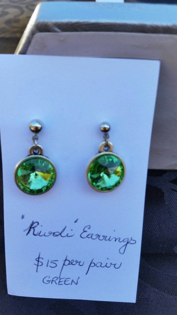 Check out this item in my Etsy shop https://www.etsy.com/au/listing/470443023/green-crystal-set-earrings