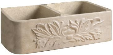 """Barclay 36"""" Thyme Double Bowl Polished Marble Farmer Sink"""