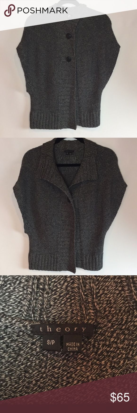 Theory Innes Shaker Gray Short Sleeve Cardigan Theory Innes Shaker Gray Short Sleeve Cardigan   Size small   Excellent condition   100% Wool  3 buttons Theory Sweaters Cardigans