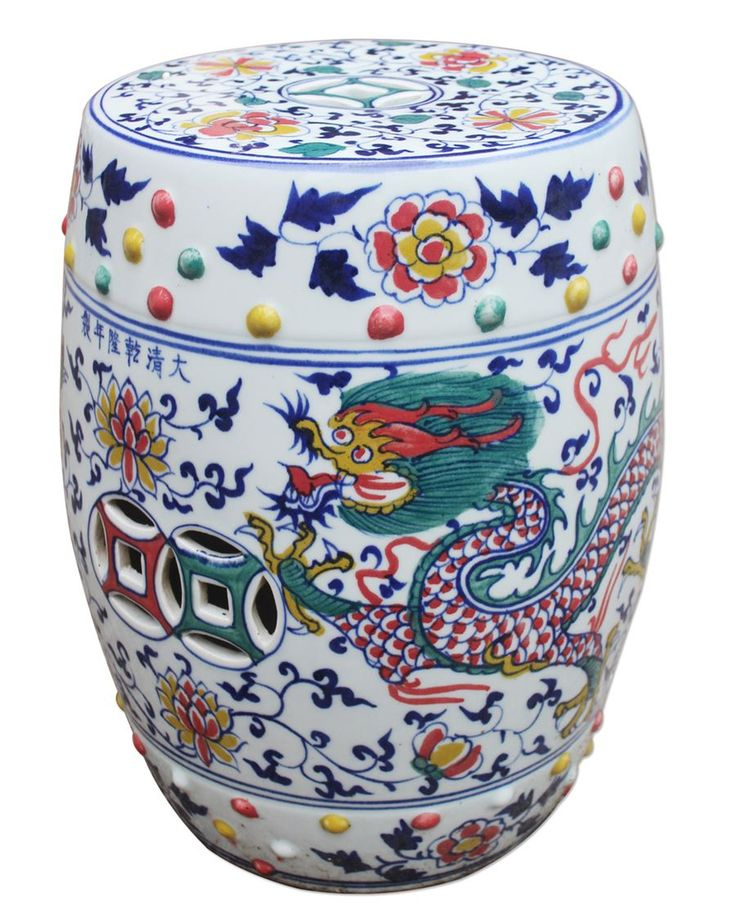New Arrival From Jingdezhen China: Tall Chinese Blue White U0026 Red Porcelain  Dragon Garden Stool * Only Few Remaining