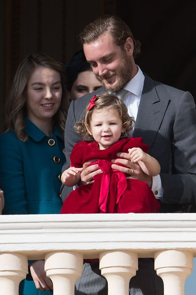 (L-R) Princess Alexandra of Hanover, her brother Pierre Casiraghi and niece India Casiraghi greet the crowd from the palace's balcony during the Monaco National Day Celebrations on November 19, 2016 in Monaco, Monaco.