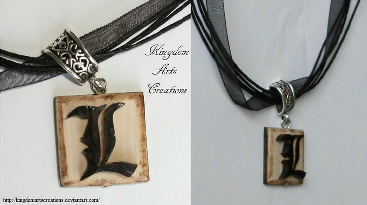 L (death note) necklace by KingdomArtsCreations on DeviantArt