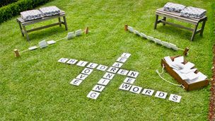 How to make an outdoor word game. Would be cool for other games that we play at Christmas. Perfect for Christmas in July!